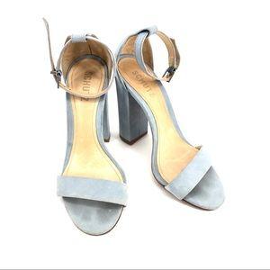 Schutz Blue Block Heel Open Toe Ankle Strap Sandal